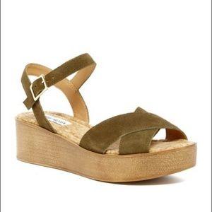 'Senona' Olive Suede Ankle Strap Platform Sandals